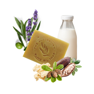 High quality goat milk soap with Australian extra virgin olive oil, cocoa butter, shea butter and Australian lavender essential oil