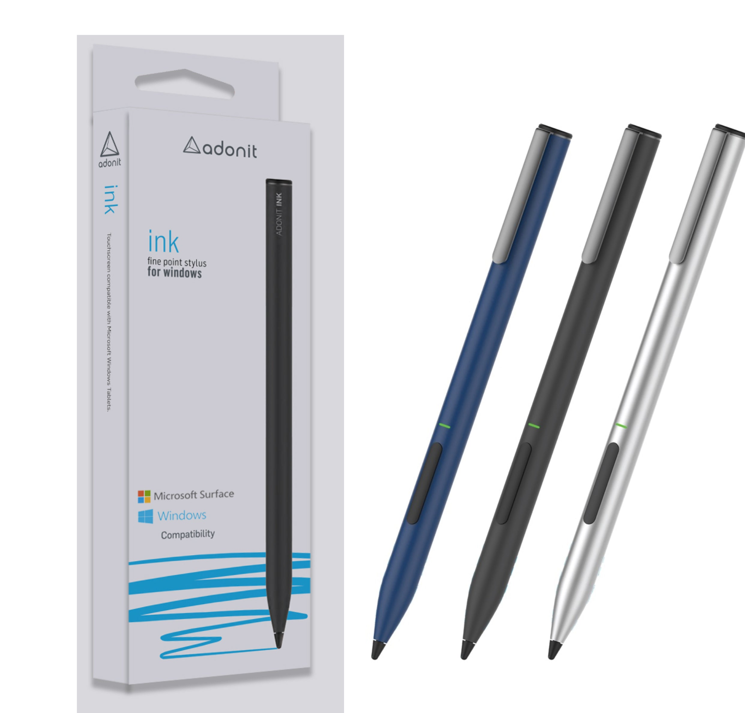 Adonit Ink - Fine Point Precision Stylus for Microsoft Surface and Windows Touchscreens
