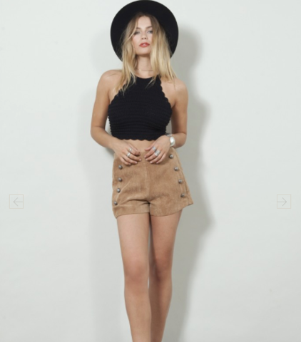 Stevie Double Breasted Shorts- Tan Corduroy