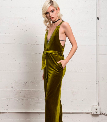 WALK AWAY - GREEN VELVET JUMPSUIT WITH LOW V NECKLINE AND BACK LACE TRIM INSERT