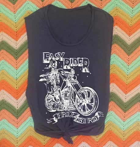Easy Ride Biker Motorcycle 70s Retro Muscle Tee
