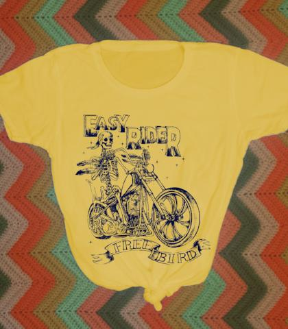 Easy Ride Biker Motorcycle 70s Retro Tee