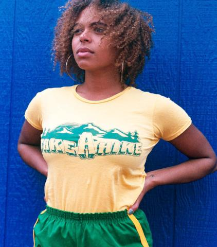 Take a Hike 70s Retro Yellow Short Sleeve Sleeve Tee