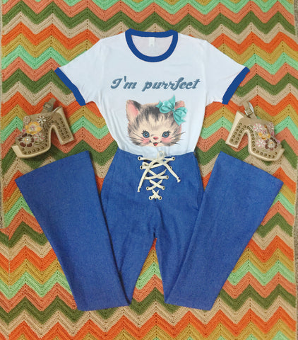 I'm Purrfect Cat Vintage Style  70s Retro Ringer Tee