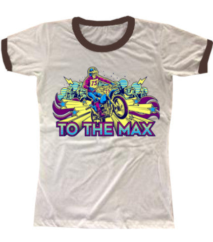 To The Max Dirt Bike 70s Retro Ringer Tee