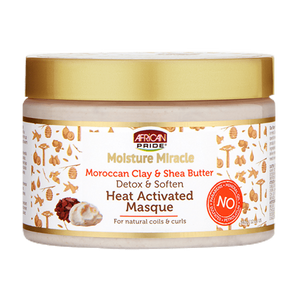 African Pride Moisture Miracle Moroccan Clay & Shea Butter Heat Activated Masque 12 oz