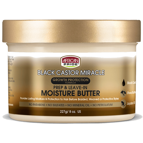 African Pride Black Castor Miracle Prep & Leave In Moisture Butter 8 oz