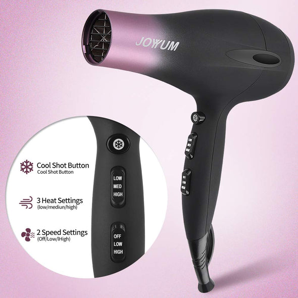 JOYYUM Professional Hair Dryer 1875W with Ionic Conditioning 2 Speed