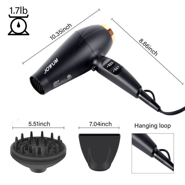 JOYYUM Professional Hair Dryer 1875W Black