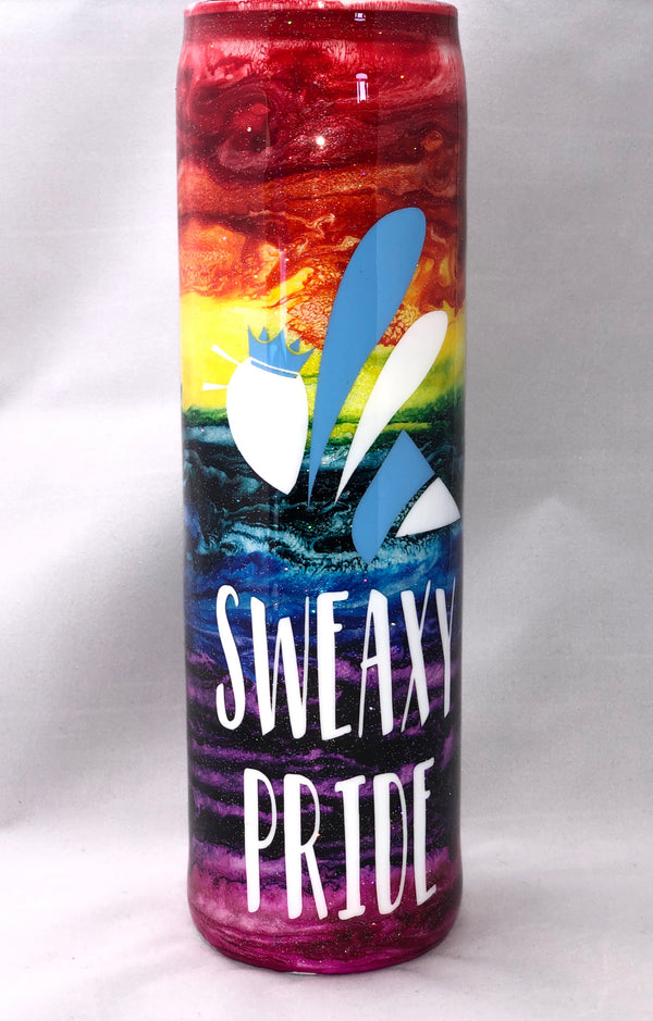 25oz Sweaxy Hand Made RAINBOW PRIDE Water Bottle
