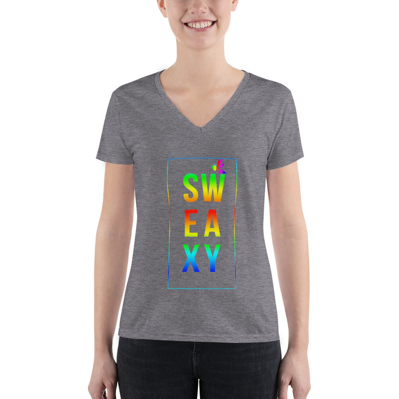 Women's Fashion Deep V-Neck Tee - SweaxyPride