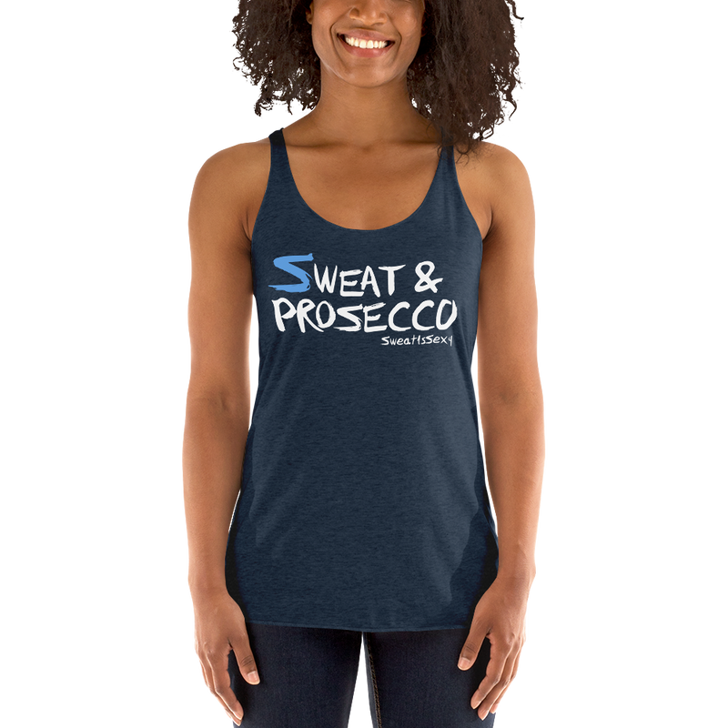 Women's Racerback Tank - Sweat & Prosecco - Dark