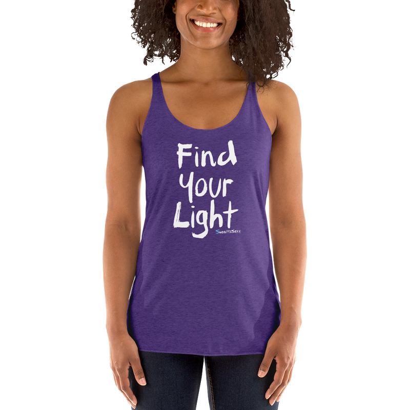 Women's Racerback Tank - Find Your Light - Clean - Dark