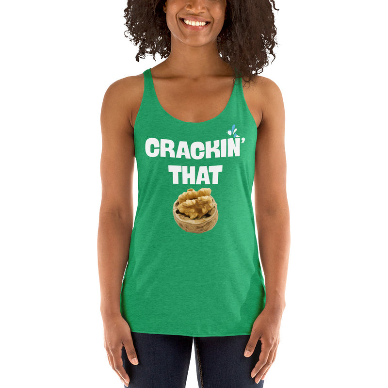 Women's Triblend Racerback Tank - Crackin That walnut