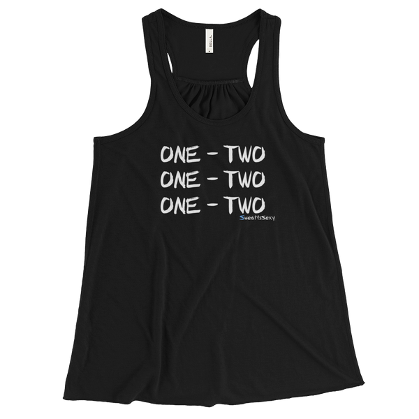 "Women's Flowy Racerback Tank - ""One - Two"" - Dark"