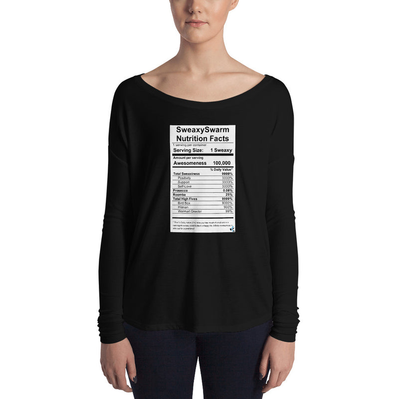 Women's Long Sleeve Tee - Nutrition Label - Dark
