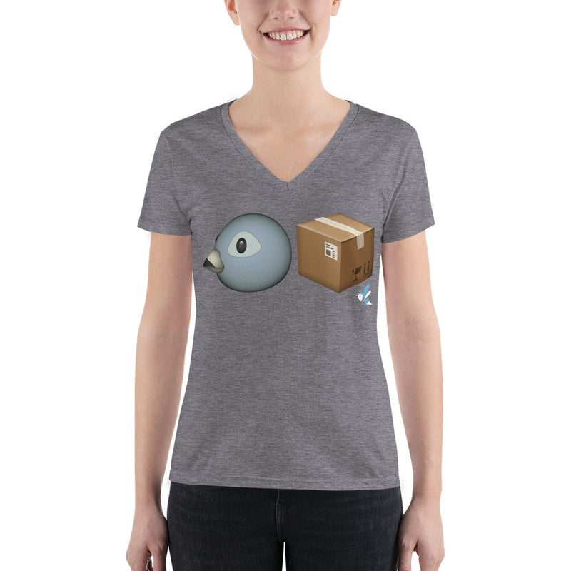 Women's Fashion Deep V-Neck Tee - Bird Box