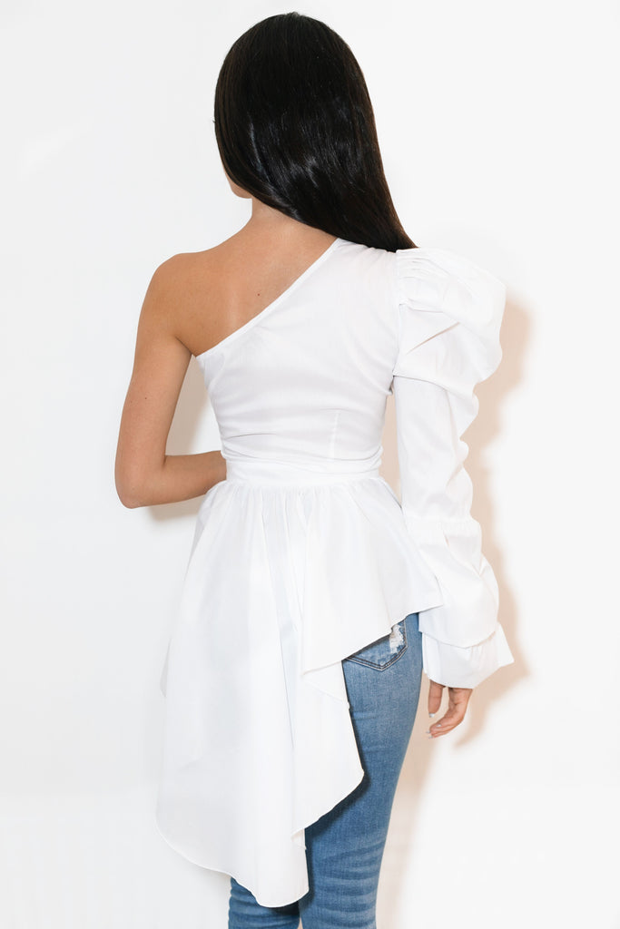 One Shoulder sleeve top white