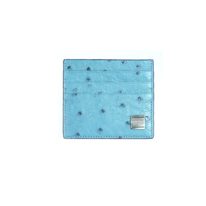 Aqua Ostrich card holder-1944OST