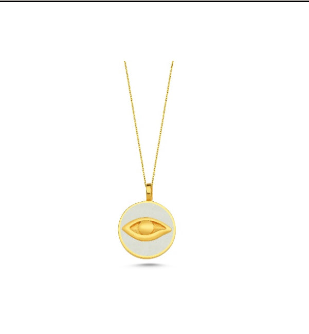 Gold Eye Medallion Necklace White KLY301