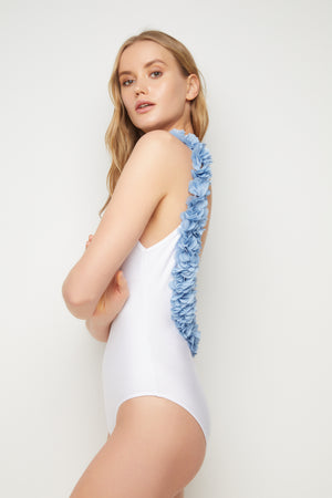 Floral One piece- White & Blue