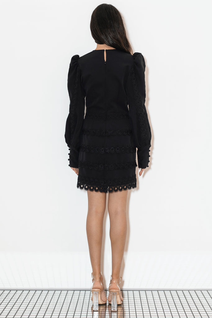 Black Tight Dress with Bellowing Bell Sleeves and Lace Detail