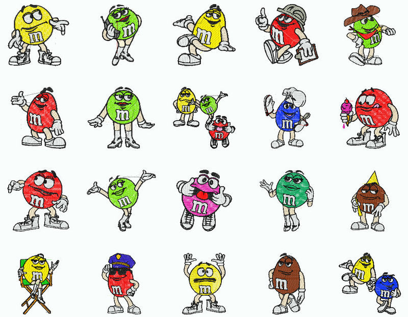 M&M \'S EMBROIDERY MACHINE DESIGNS SET OF 40 | Cartoon Characters ...