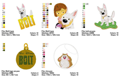 Bolt Disney Characters Embroidery Machine Designs Cartoon Characters Machine Embroidery Designs