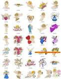 Gorgeous Angels Embroidery Machine Designs Cute Collection Set