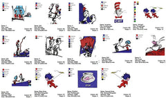 CAT IN THE HAT CARTOON CHARACTER EMBROIDERY MACHINE DESIGNS