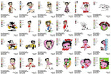 BETTY BOOP Characters MACHINE Embroidery Designs  - Collection Set of 60  Designs