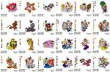 BOZO CLOWN CHARACTER EMBROIDERY MACHINE DESIGNS SET OF 68