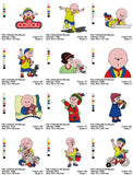 CAILLOU CARTOON CHARACTER EMBROIDERY MACHINE DESIGNS SET OF 12