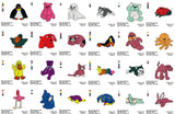 BEANIE BABIES EMBROIDERY MACHINE DESIGNS CUTE SET OF 50