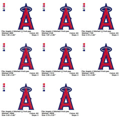 Los Angeles Angels of Anaheim Team LOGOS EMBROIDERY MACHINE DESIGNS