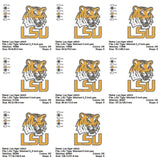 LSU Tigers football Louisiana State University EMBROIDERY MACHINE DESIGNS