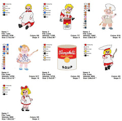 Campbell's Kids EMBROIDERY MACHINE DESIGNS SET OF 7