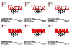 BAMA GIRL TEAM SPORTS LOGOS EMBROIDERY MACHINE DESIGNS