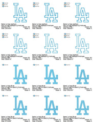 Los Angeles Dodgers Baseball Teams LOGOS EMBROIDERY MACHINE DESIGNS