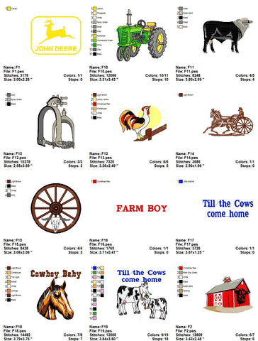 Farm Animals John Deere Tractors Cowboys Etc Embroidery Machine