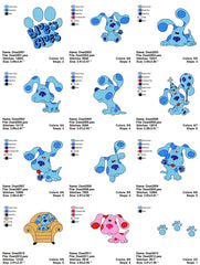 BLUE CLUES CARTOON EMBROIDERY MACHINE DESIGNS SET OF 20