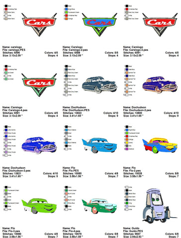 Cars Pixar Disney Embroidery Machine Designs Cartoon