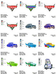 CARS PIXAR DISNEY EMBROIDERY MACHINE DESIGNS