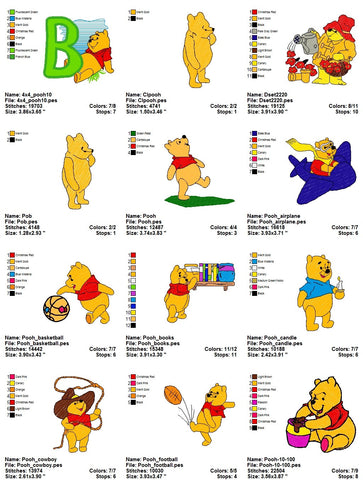 Classic Winnie The Pooh Disney Character Adorable Embroidery Machine