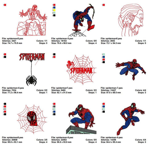 Spider Man Super Heroes Embroidery Machine Designs | Cartoon