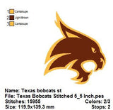 TEXAS STATE BOBCATS TEAM SPORTS TEAM LOGO  EMBROIDERY MACHINE DESIGNS