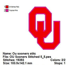 Oklahoma Sooners Sports Team EMBROIDERY MACHINE DESIGNS