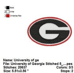 Georgia Bulldogs football team LOGOS EMBROIDERY MACHINE DESIGNS