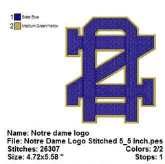 University of Notre Dame Logo EMBROIDERY MACHINE DESIGNS