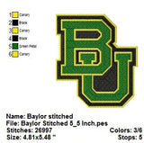 BAYLOR BEARS UNIVERSITY TEAM SPORTS LOGOS EMBROIDERY MACHINE DESIGNS